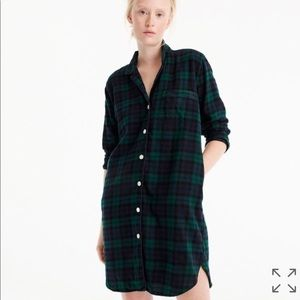 NWOT J.Crew Nightshirt in Black Watch Flannel